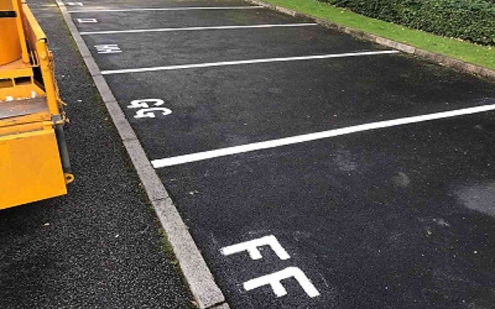 car park line marking at manchester building site